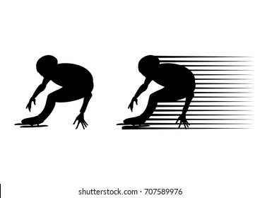 speed skater athlete speed skating ice arena turn black silhouette
