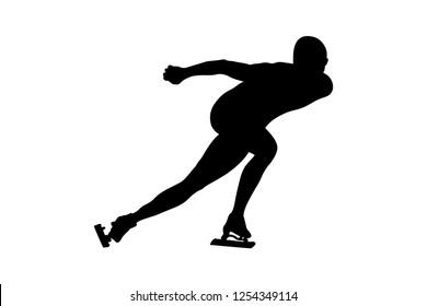 speed skating man athlete skater black silhouette