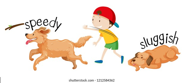 Speed and sluggish dog illustration