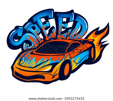 Speed Sport Car Fire Text Drawing Stock Vector Royalty Free