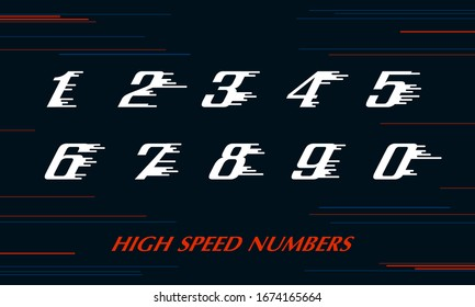 speed Sport numbers set logo design template. Vector sport style typeface for sportswear, sports club, app icon, corporate identity, labels or posters. eps 10 illustration art