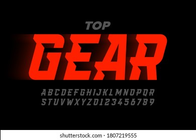 Speed sport style modern font, alphabet and numbers vector illustration