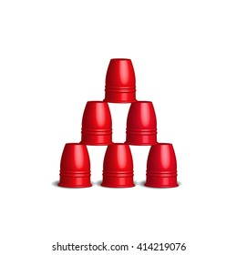 Speed Stacks Cups Stacking Sport Flying Cup Game with six stainless red cups set, 3d Vector illustration.