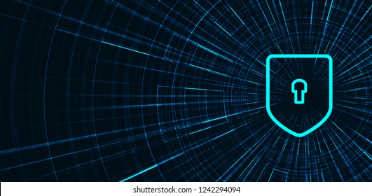 Speed Technology Shield Security,protection and Safe Concept,on Data background Hi-tech and technology concept design.