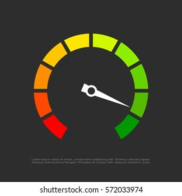 Speed test arrow vector icon illustration isolated on black background. Flat web design element for website, app or infographics materials.