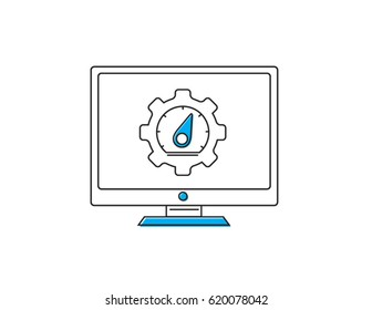 Speed test desktop icon simple illustration