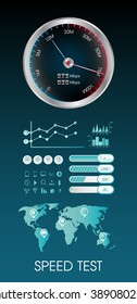 Speed test meter with speed test info graphic element