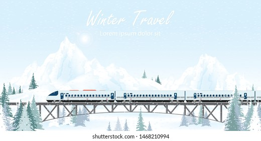 Speed train on railway bridge on winter landscape. travel concept background. travel on summer Vector illustration.
