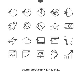 Speed UI Pixel Perfect Well-crafted Vector Thin Line Icons 48x48 Ready for 24x24 Grid for Web Graphics and Apps with Editable Stroke. Simple Minimal Pictogram Part 1-2