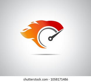 Speed, vector logo of flaming speedometer for racing event
