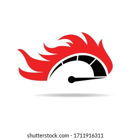 Speed, vector logo of flaming speedometer for racing event. Vector illustration.