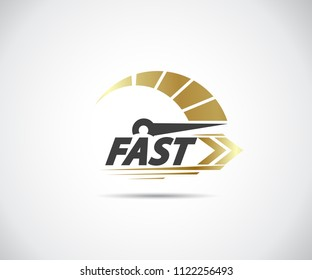 Speed, vector logo racing event, with the main elements of the modification speedometer