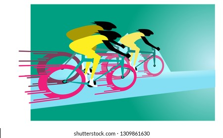 speed way, road bike racing event poster web template. Mixcolor vector illustration or banner. sport theme
