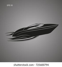 Speedboat isolated icon. Luxury boat vector. Streamline vessel