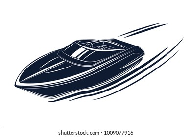 Speedboat isolated vector illustration. Luxury and expensive boat.