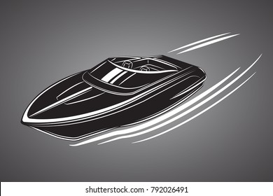 Speedboat isolated vector illustration. Luxury and expensive boat. Fast tourist vessel