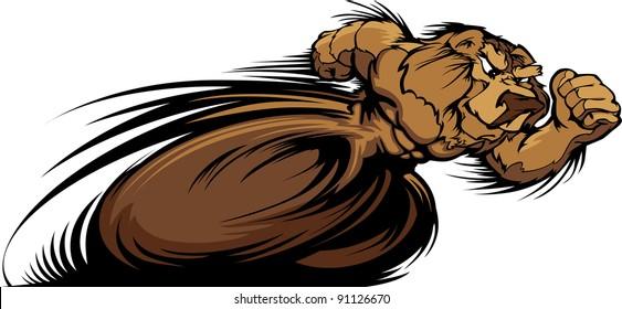 Speeding Bear Running with hands Mascot  Vector Illustration