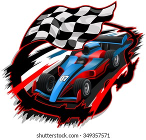 Speeding F1 Racing Car with Checkered Flag & Racetrack Design