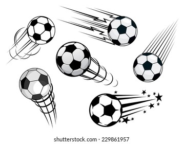 Speeding footballs or soccer balls set in black and white with various motion trails, vector illustration