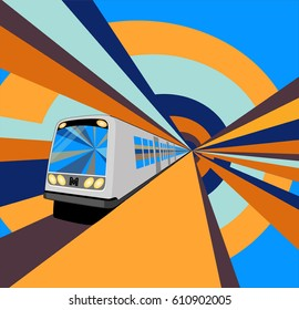 A speeding metro train in the colorful tunnel. Vector illustration.