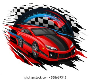Speeding Race Car with abstract motion blur lines set against a backdrop of a Checkered flag and Speedometer showing high speed.