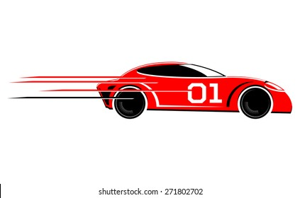Speeding race car vector icon