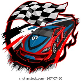 Speeding Racing Car with Checkered Flag & Racetrack Design