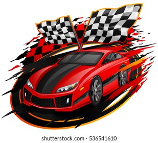 Speeding Racing Car with Checkered Flag & Racetrack Design