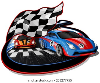 Speeding Racing Cars approaching Finish Line with Checkered Flag & Racetrack Design.  The first Car is going over the Finish Line.