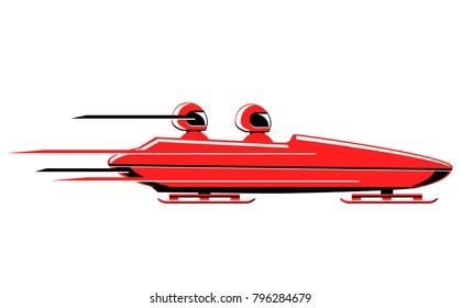 Speeding red bobsled vector icon