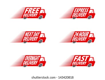Speeding Red Delivery Truck  2 editable vector graphic