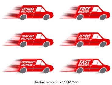 Speeding Red Delivery Truck editable vector graphic