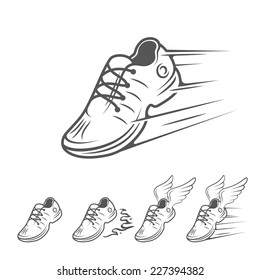 Speeding running shoe icons in five variations with a trainer, sneaker or sports shoe with speed and motion trails, vector isolated silhouette logo element on white