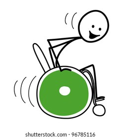 Speeding stick figure in a green wheelchair