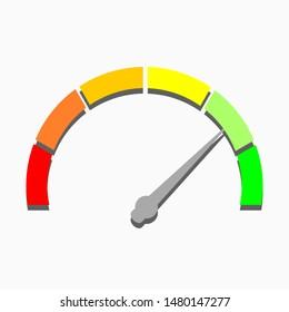 speedometer; arrow and color meter. vector illustration