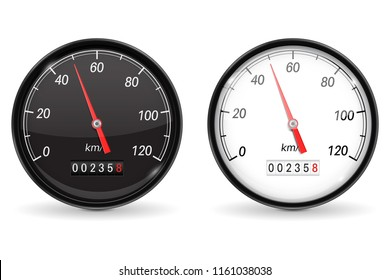 Speedometer. Black and white speed gauge with metal frame. 50 km per hour. Vector 3d illustration isolated on white background
