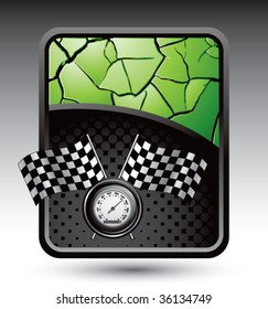 speedometer and checkered flags on cracked green background