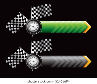 speedometer and checkered flags on green and black arrows