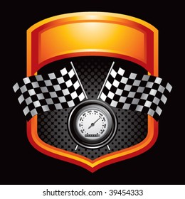 speedometer and checkered flags on orange display