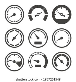 Speedometer and dashboard device scales icon set, vector