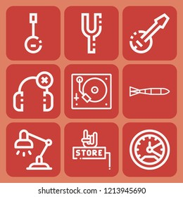 Speedometer, desk lamp, submarine torpedo, music store, banjo, tuning fork, turntable icon set suitable for info graphics, websites and print media and interfaces