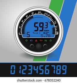 speedometer digital multifunction tachometer  realistic vector