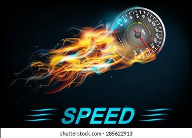 Speedometer  in Fire on dark background. Vector illustration