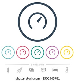 Speedometer flat color icons in round outlines. 6 bonus icons included.