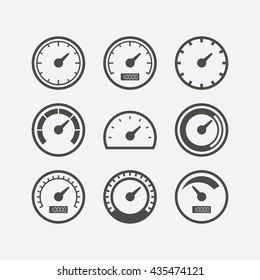 Speedometer flat design vector icon set