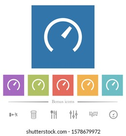 Speedometer flat white icons in square backgrounds. 6 bonus icons included.