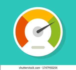 Speedometer gauge dial vector icon isolated or pressure progress power bar vector flat symbol, concept of scoring measure level indicator or performance scale meter modern design