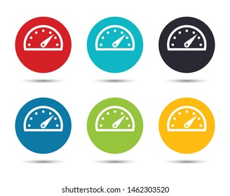 Speedometer gauge icon flat round button set illustration design isolated on white background