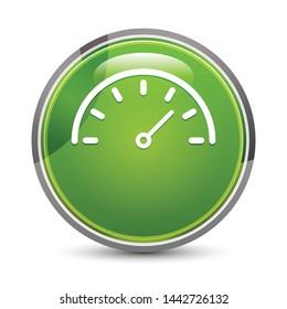 Speedometer gauge icon isolated on elegant green round button vector illustration