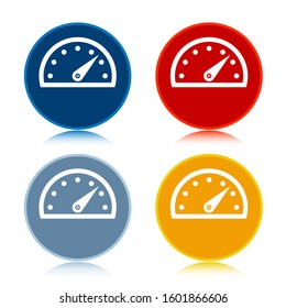 Speedometer gauge icon isolated on trendy flat round buttons set reflected illustration design